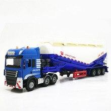 Camion de ciment en poudre véhicules, réservoir de remorques de camions à échelle en alliage de 1:50, haute Simulation, modèle technique de véhicule