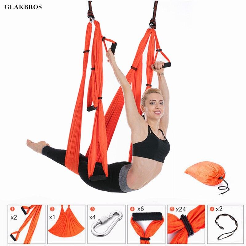 Hamaca de Yoga para Fitness, columpio para Yoga, antigravedad, cintas aéreas, tela de alta resistencia, descompresión con 6 empuñaduras de mano, 2 uds., cinturón de extensión