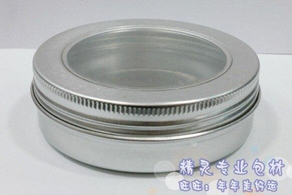 50 unids/lote 100g tarro de cosméticos de aluminio transparente contenedor de labios, rosca de tornillo 50 unids/lote 100ml embalaje de maquillaje con tapa con ventana