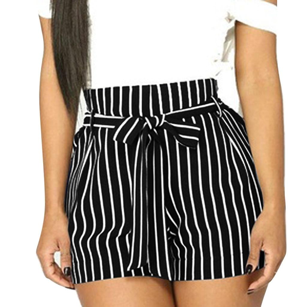 Women Paper Pocket Pleated Waist Buttoned Belt Knot Striped Shorts Women Summer Highstreet Preppy Casual Mini shorts #611