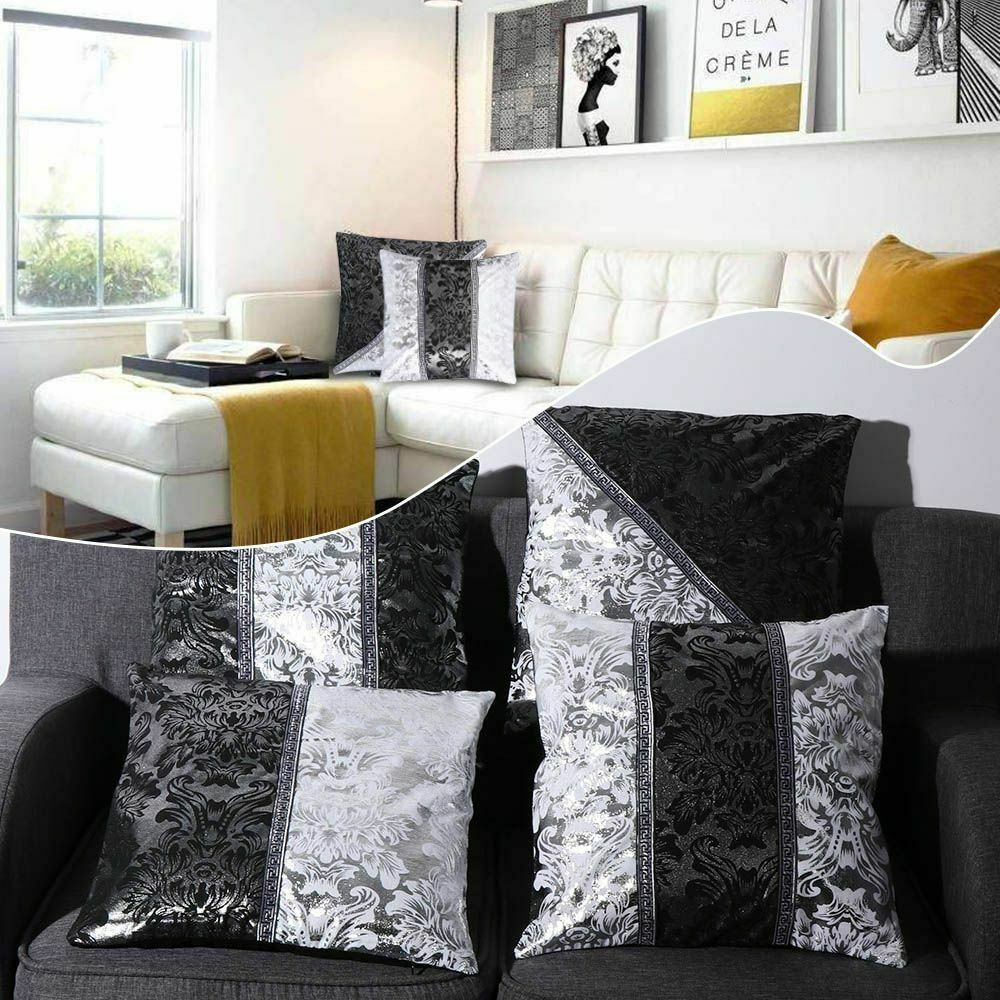 Luxury Vintage Black Silver Floral Cushion Cover Pillow Case For Car Sofa Decor Pillowcase Home Decorative Pillow Cover 45x45cm