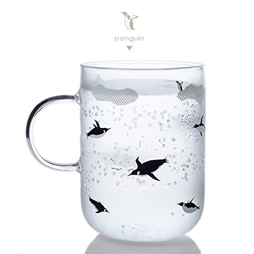 350ml marca Tuuli diseño creativo oso polar y pingüino hecho a mano borosilicato copa de vidrio cerveza vino taza de bebida fría