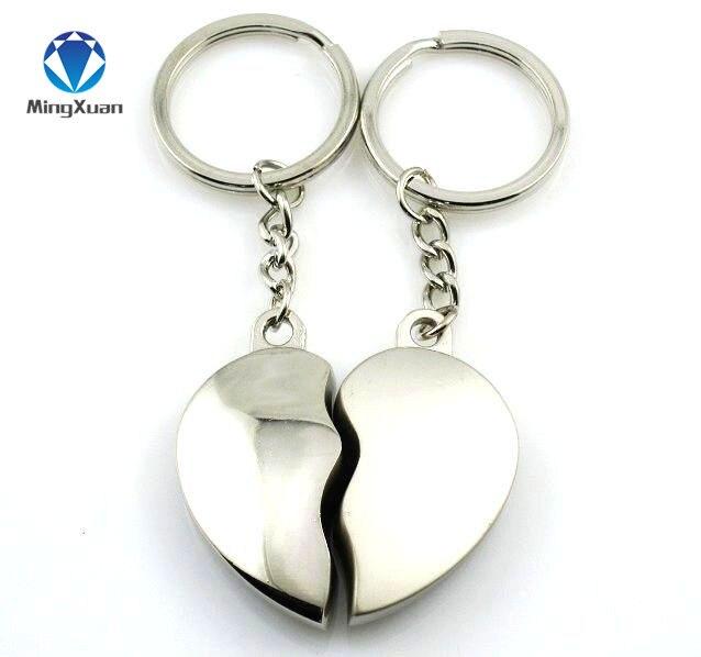 MINGXUAN 1 пара ключей для пар, брелок с серебряным покрытием, Корейская романтическая подвеска в виде цепи, подарок на день Святого Валентина C411