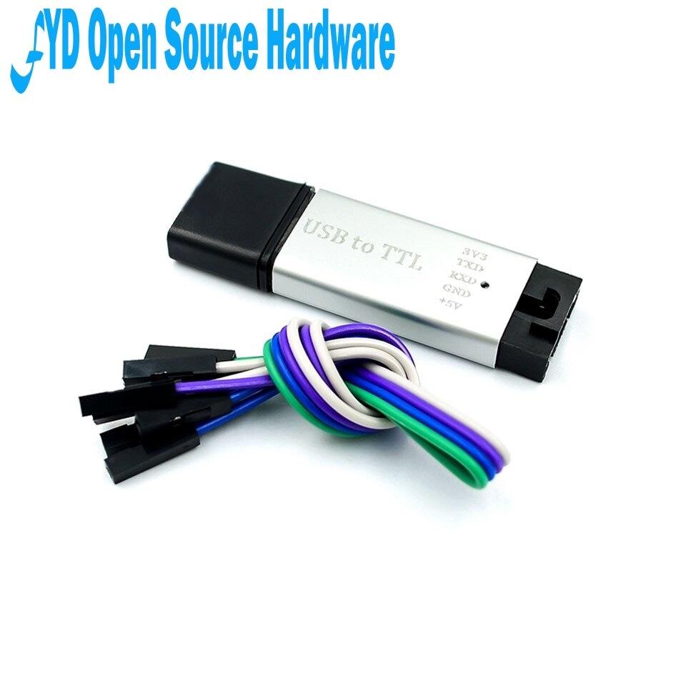 1 Uds. Carcasa de aluminio CP2102 USB 2,0 a TTL módulo UART 5Pin convertidor Serial STC reemplazar FT232 módulo soporte 5v/3,3 v para arduino