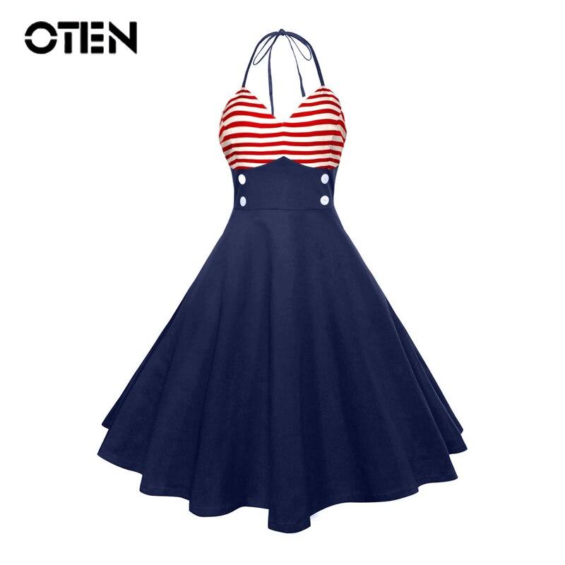 Женское платье-комбинезон OTEN, винтажное вечернее платье средней длины в полоску с принтом на кнопках и открытой спиной в стиле ретро, 2018