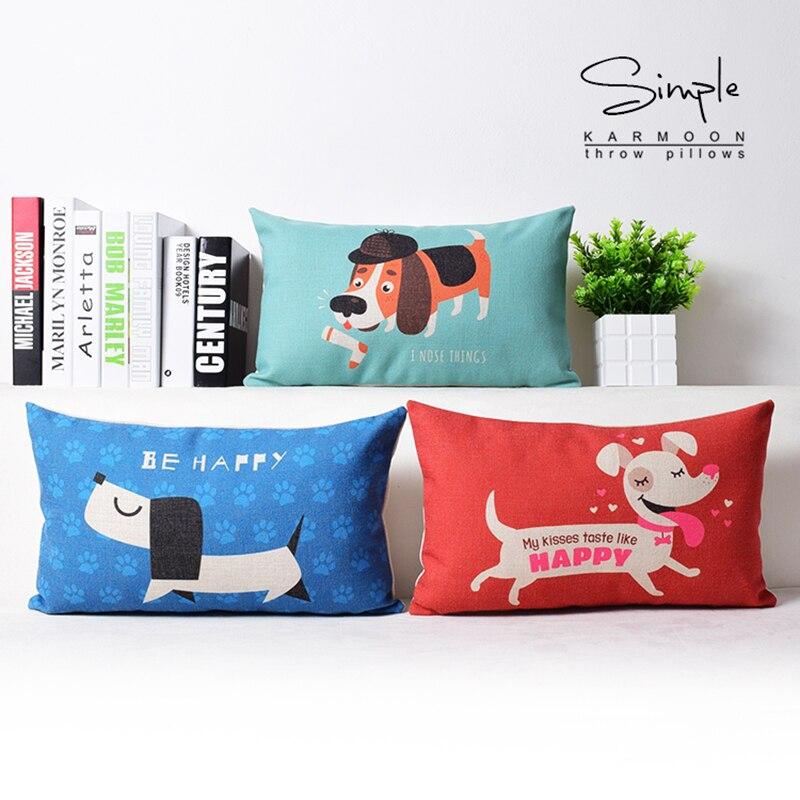 Dachshund linho lombar lance travesseiro caso decorativo cães capa de almofada azul vermelho verde bonito animal casa sofá decoração presente retângulo