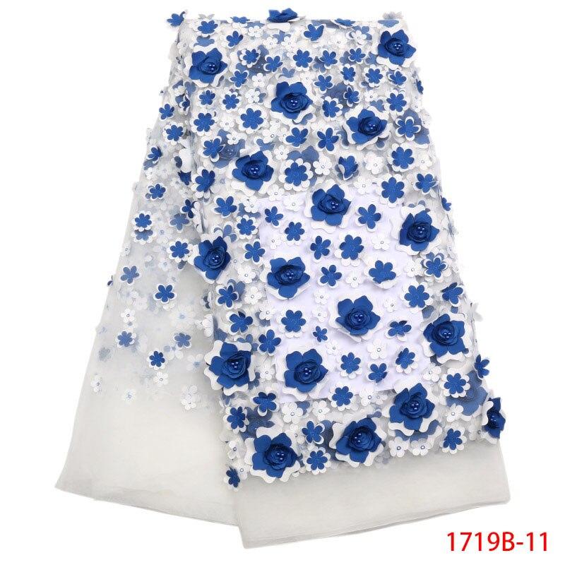 Lo último en tela de encaje de tul blanco francés, muchas flores azules en 3d con piedras azules, popular en Nigeria, 5 yardas, tela de encaje de tul XZ1719B