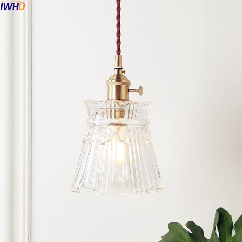 Подвесная лампа IWHD в скандинавском стиле, медная стеклянная лампа в стиле лофт для спальни, гостиной, светильник