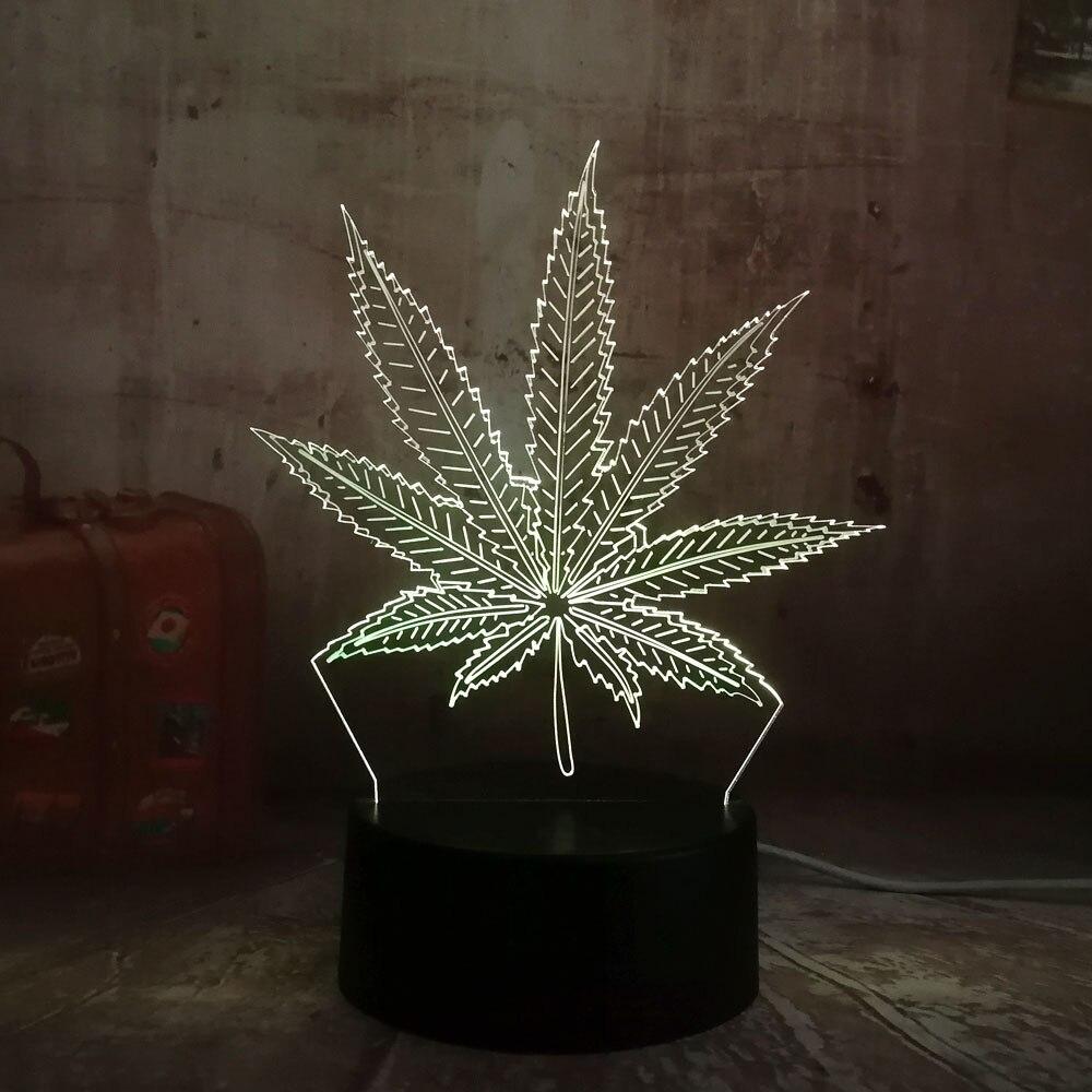 3d-лампа с красивым листом из пеньковой ткани, светодиодная лампа для украшения дома, ночник для сна, настольная лампа, подарок на день рождения, игрушка, вспышка, декор для вечеринки, Лава