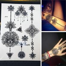 25 stil Neue Ankunft Flash Frauen Tattoo Aufkleber Große Blume Anhänger Schmuck Wasserdicht Arm Zurück Gefälschte Henna Tattoo Schwarz Tinte