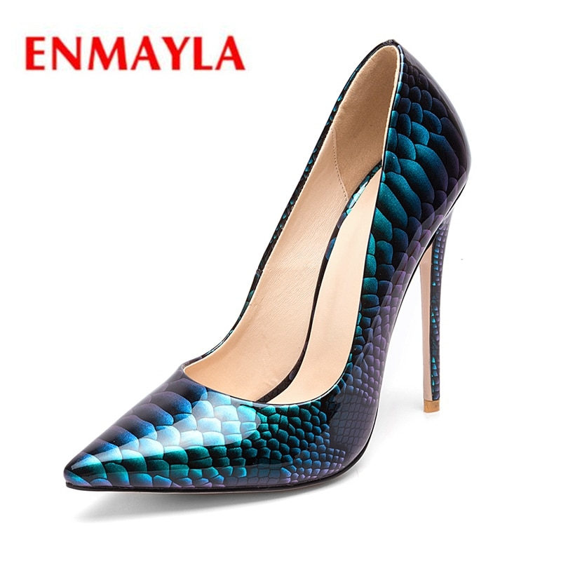 ENMAYER Pointed Toe  Casual  Slip-On  Thin Heels  High Heel Shoes  Women Shoes  Zapatos Mujer Tacon