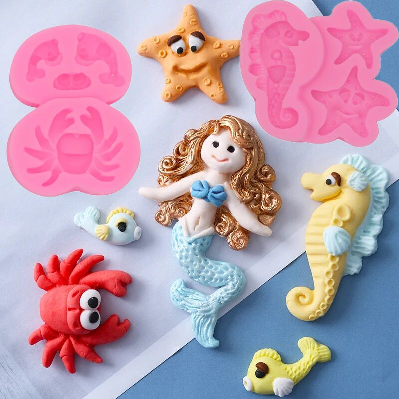 1pc Seahorse Silicone Mold Starfish Cupcake Fondant Cake Decorating Tools Mermaid Crab Sugarcraft Clay Gumpaste Molds