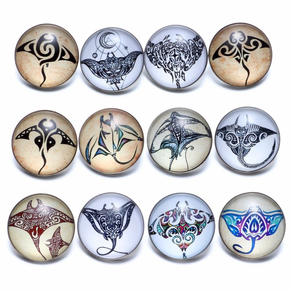 12pcs/lot Devil Ray Mobula Theme Glass Charms 18mm Snap Button Jewelry For 18mm Snaps Bracelet Snap Jewelry KZ0690a