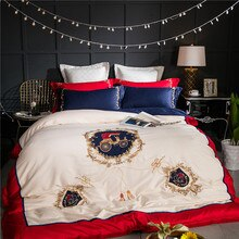 4/8 pcs 화이트 블루 럭셔리 영국 스타일 골든 로얄 자수 이집트 면화 침구 세트 이불 커버 침대 시트 pillowcases
