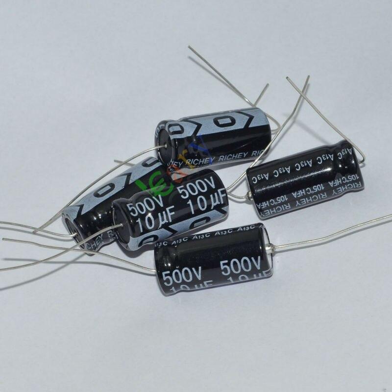 Venta al por mayor y al por menor 20pc 500V 10uf 105C nuevos cables largos de cobre condensador electrolítico Axial amplificador de audio envío gratis