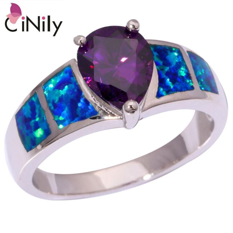 Cinily criado azul fogo opala roxo zircão banhado a prata por atacado moda para mulher jóias anel tamanho 6 7 8 9 9.5 oj8936