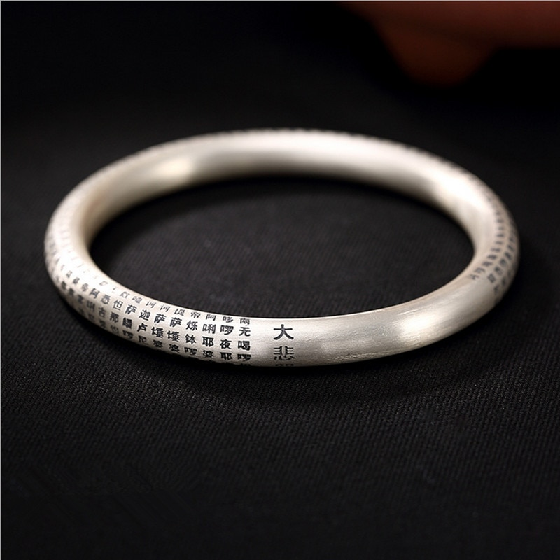Uglyless Real 99% Full Silver Thick Bangles for Women Buddhism Gifts Spells Close Bangle 56-66MM Diameter Bracelets Fine Jewelry