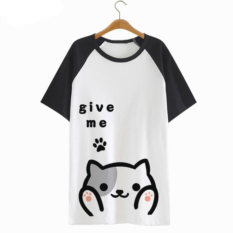 Neko Atsume camiseta Anime patio gato lindo Harajuku manga corta verano Blusa transpirabilidad camiseta Peplum Lolita Kawaii Top camisetas