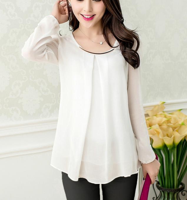 Korea New 2019 Blusas Femininas Plus Size 4XL Elegant Brief Summer Blouse White Slim Fold Sheer Blouses Chiffon Shirt Women Tops
