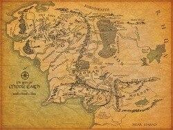 Mapa da terra média cartaz de seda pintura de parede 24x36inch