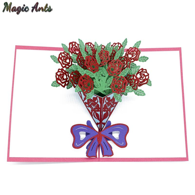 Букет цветов розы 3D всплывающая карта подарок на день рождения с конвертом стикер лазерная резка Пригласительные открытки открытка