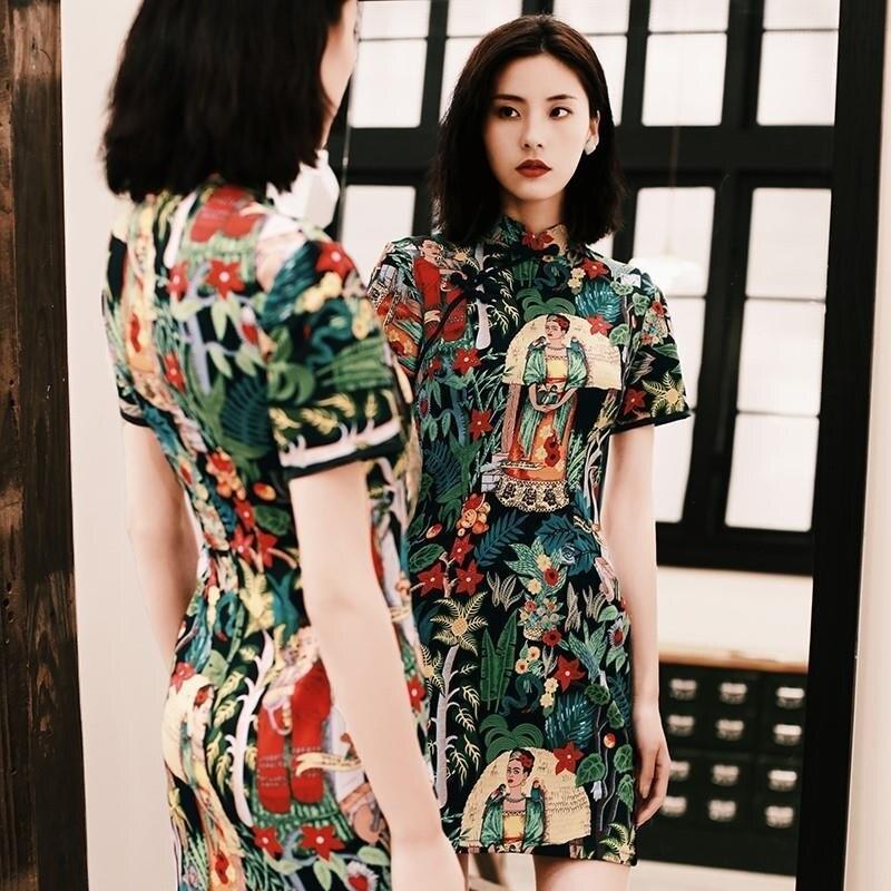 Vestido chino para Mujer Qipao Mini Cheongsam Vintage Retro estampado botón Mujer Vestido elegante Sexy lindo vestidos CC083