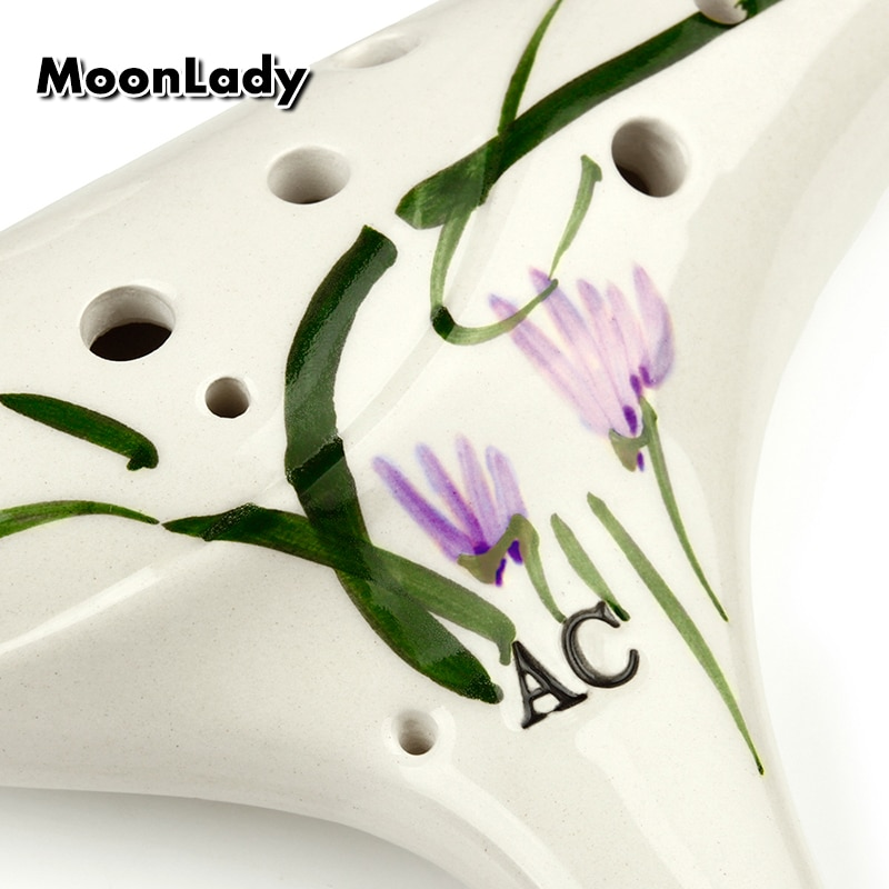 12 Holes Alto C Ocarina White Flower Element Music Instruments Chinese High Quality Woodwind Instrument Easy to Learn enlarge