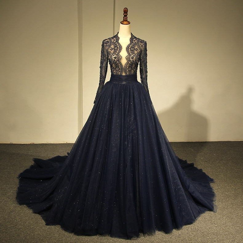 New arrival  Luxury Navy Blue  Mermaid Long Sleeve Evening Dresses Beading Crystal Sparkly Evening Gown Robe De Soiree