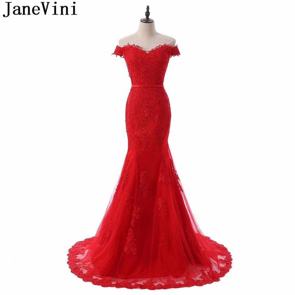 JaneVini elegante rojo tul vestidos de encaje para dama de honor apliques...