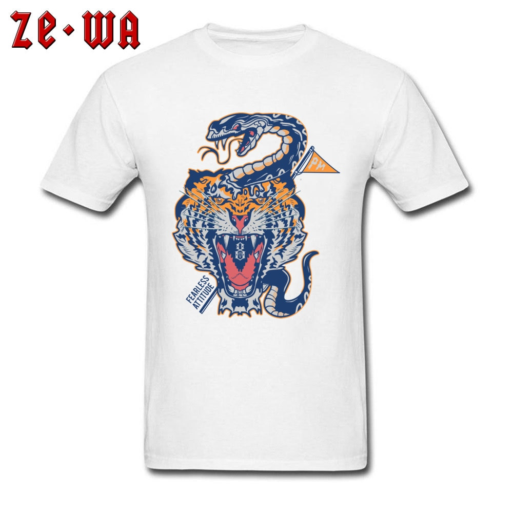 Cool novedad camisetas Northeast Tiger Monocled Cobra Snake Tattoo camiseta de imagen para hombres 100% de algodón Camisetas De adulto de algodón