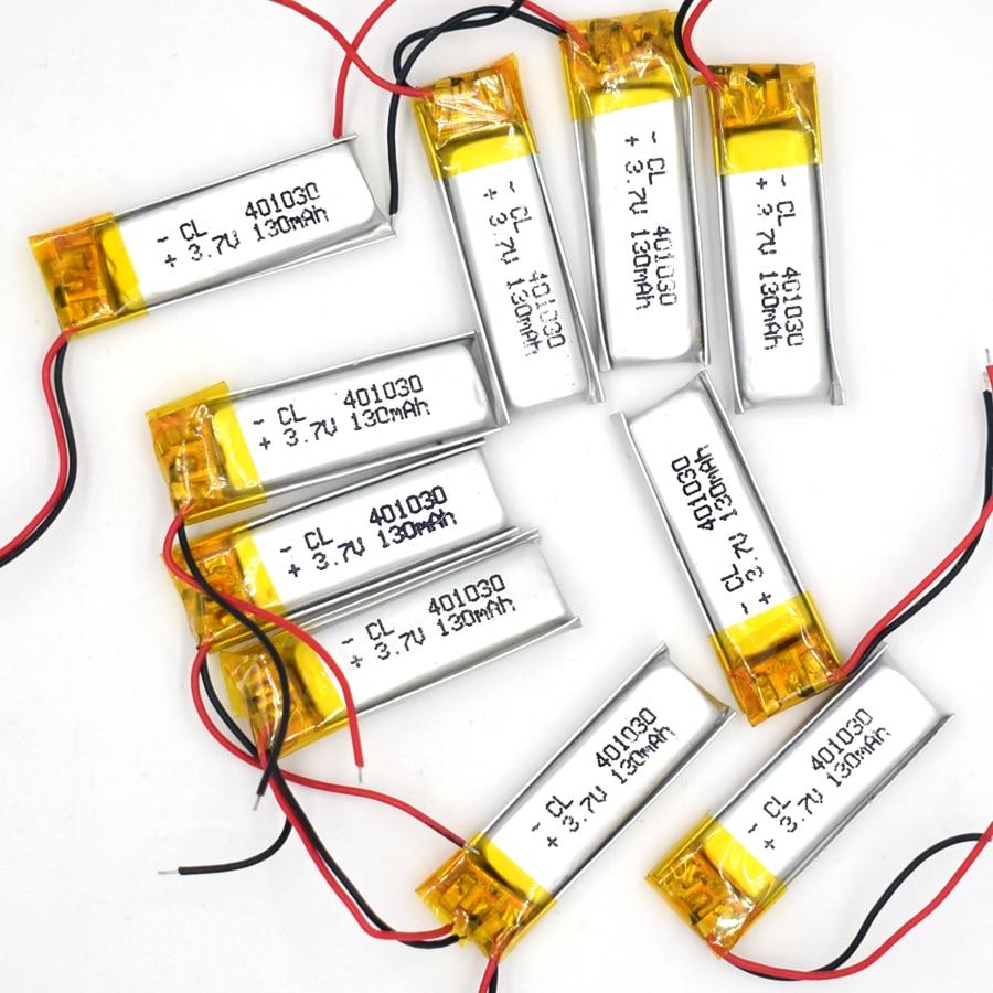 10pcs 3.7v 130 mah 401030 li-polímero bateria recarregável li po íon para gps bluetooth mp3 mp4 041030