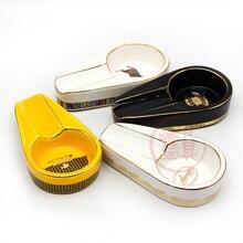 COHIBA cendrier à cigare en céramique   Gadgets de cigare, porte-cigare simple rond, fente cendrée, 13 couleurs jaune tabac Cigarette cendrier, boîte-cadeau