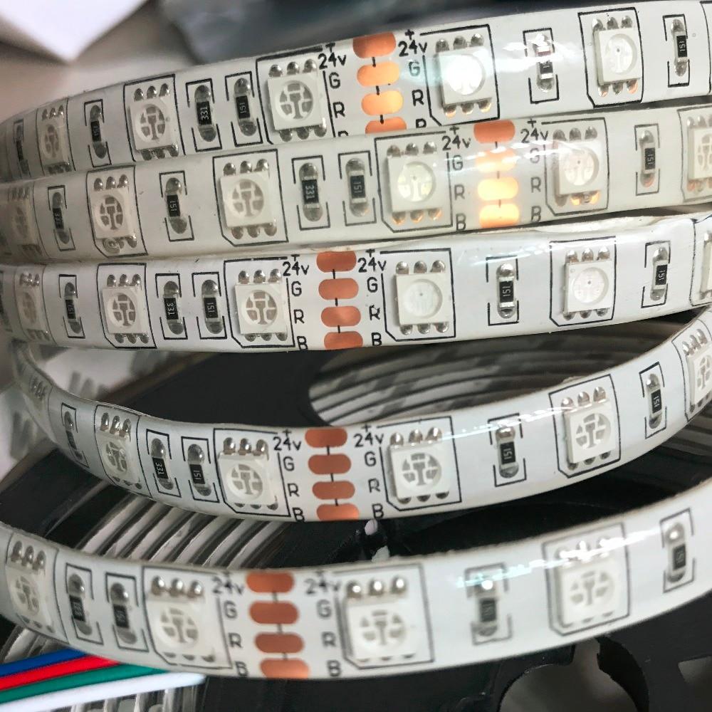 Tira de led DC12V DC24V SMD 5050 5M 300led 60led/M cinta flexible LED impermeable sin impermeabilización/Blanco/RGB cinta de diodo luz led