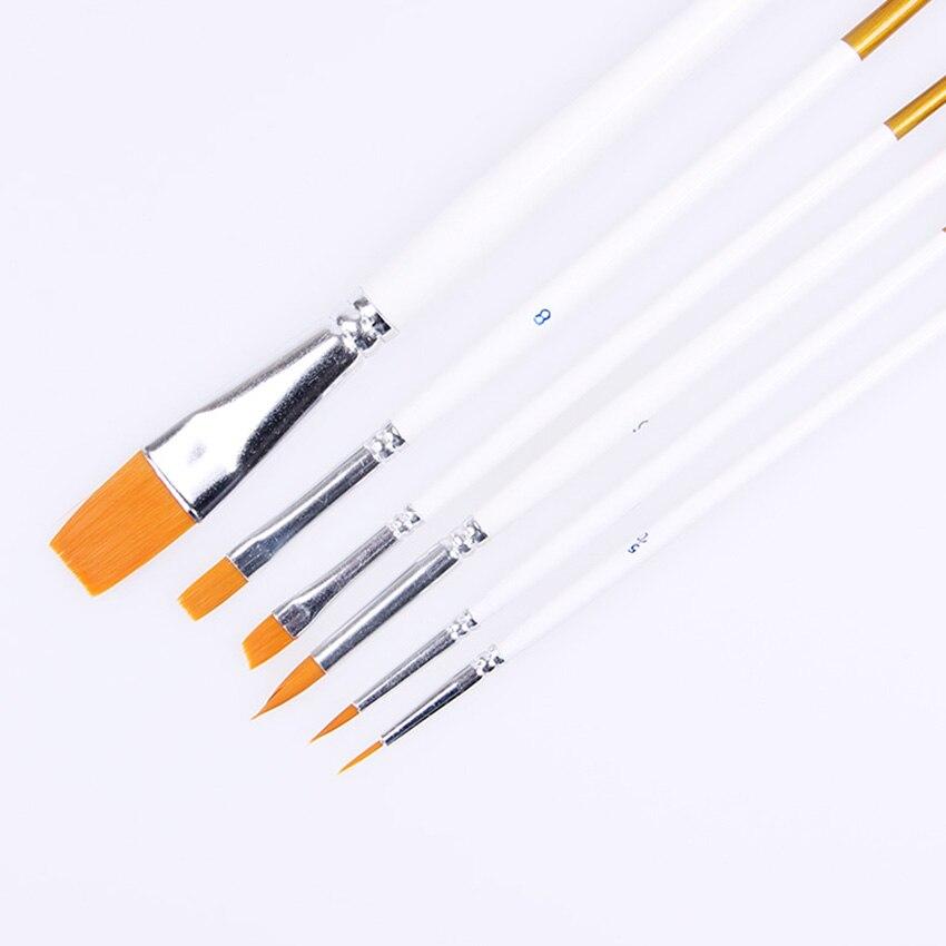 6 pièces/ensemble nouveauté pointe pointue en Nylon de forme différente brosse cheveux blanc poignée Gouache aquarelle Art fournitures