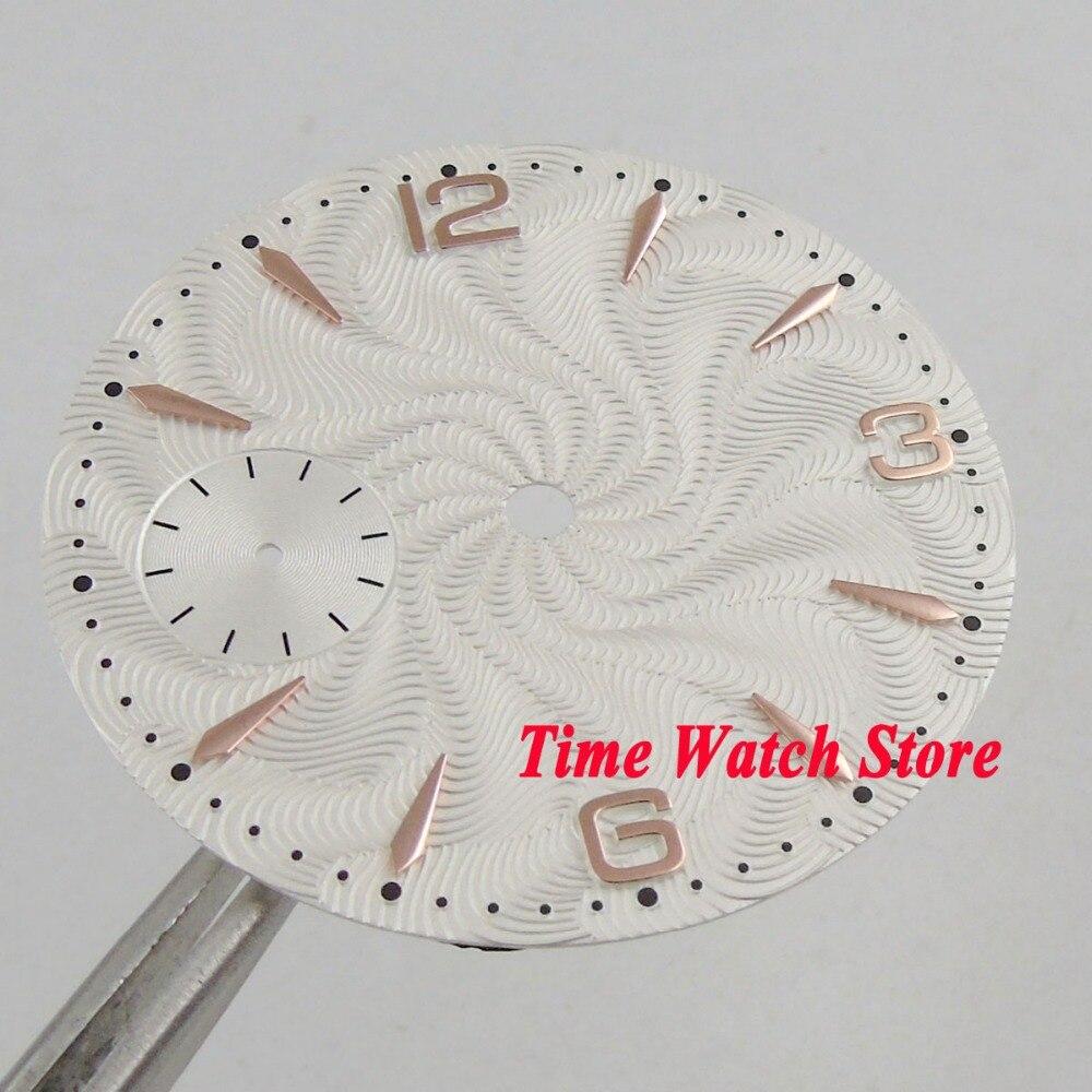 Dial blanco de 36,8mm ajuste mecánico ETA 6497 movimiento reloj dial dorado marcas D129