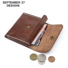 Porte-monnaie hommes en cuir véritable à la main de luxe femmes Mini portefeuille haut de gamme en peau de vache étui pour cartes de crédit petit sac dargent poche à monnaie