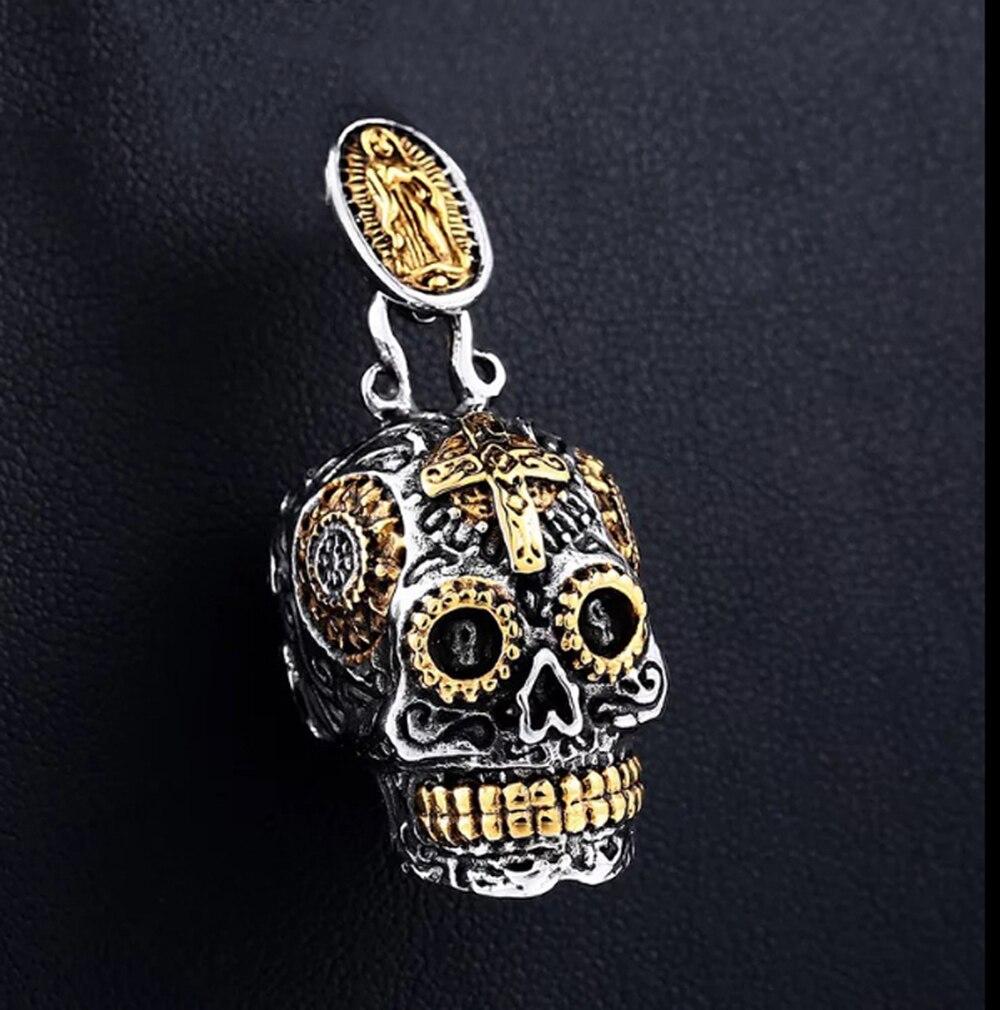 Acero inoxidable azúcar Virgen María Cruz del cráneo mexicano gótico BIKER ROCKER colgante con abalorio hombres mujeres joyería de moda
