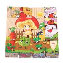 Enfants 3D Puzzle jouets Six faces peinture Construction fruits légumes ferme animaux Puzzle jouets apprentissage précoce Puzzle