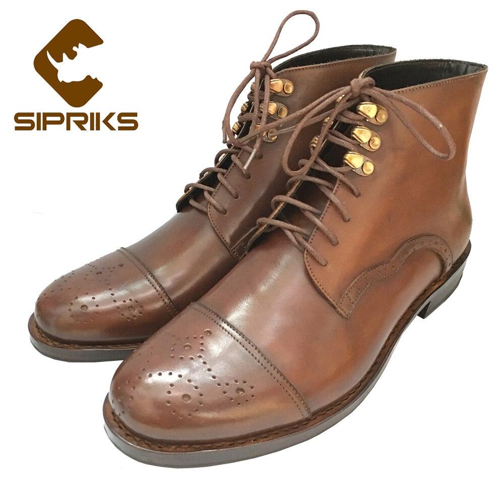 Sipriks mens goodyear botas ribeteadas cómodo de los hombres negro botas de tiras bien japonés botas de cuero luxe tobillo formal botas de la india
