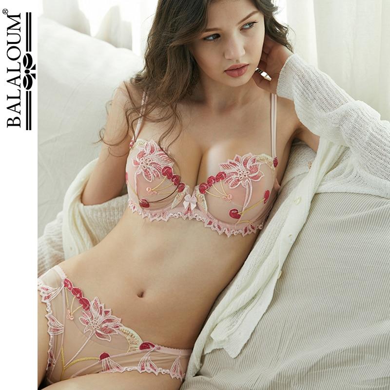 Balaloum, conjunto de braga con bordado de encaje para mujer, ropa interior sexi ultrafina, bragas transparentes, sujetador erótico transparente