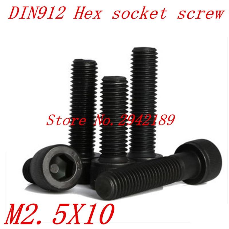 100 unids/lote rosca métrica DIN912 M2.5x10 mm M2.5 * 10 mm Grado negro 12,9 de acero de aleación de cabeza hexagonal Tornillos