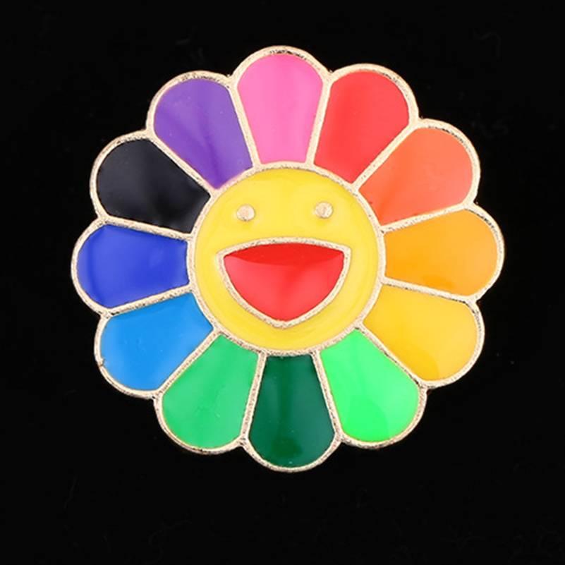 Bonito Esmalte Pequeno Sete colorido Sun Flower Broche Rosto Sorridente Crachá esmalte Duro pins Broches pinos cachecol vestido alvo