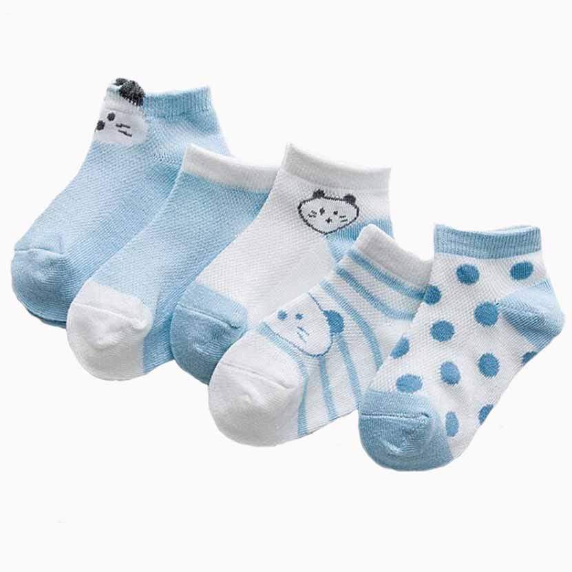 Children Mesh Socks Summer Cartoon Dot 0-8 Year New Three-dimensional Ultra-thin Boys Girls Baby Infant Socks 5 Pairs Pack