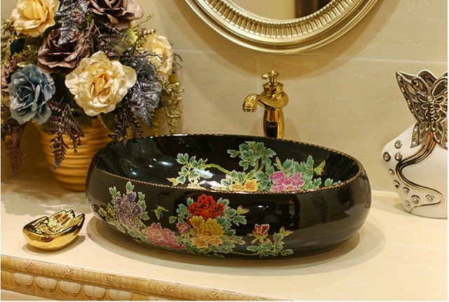 Bathroom Triangle Ceramic Counter Top Wash Basin Sink Lavabo Porcelain Washing basins 5016