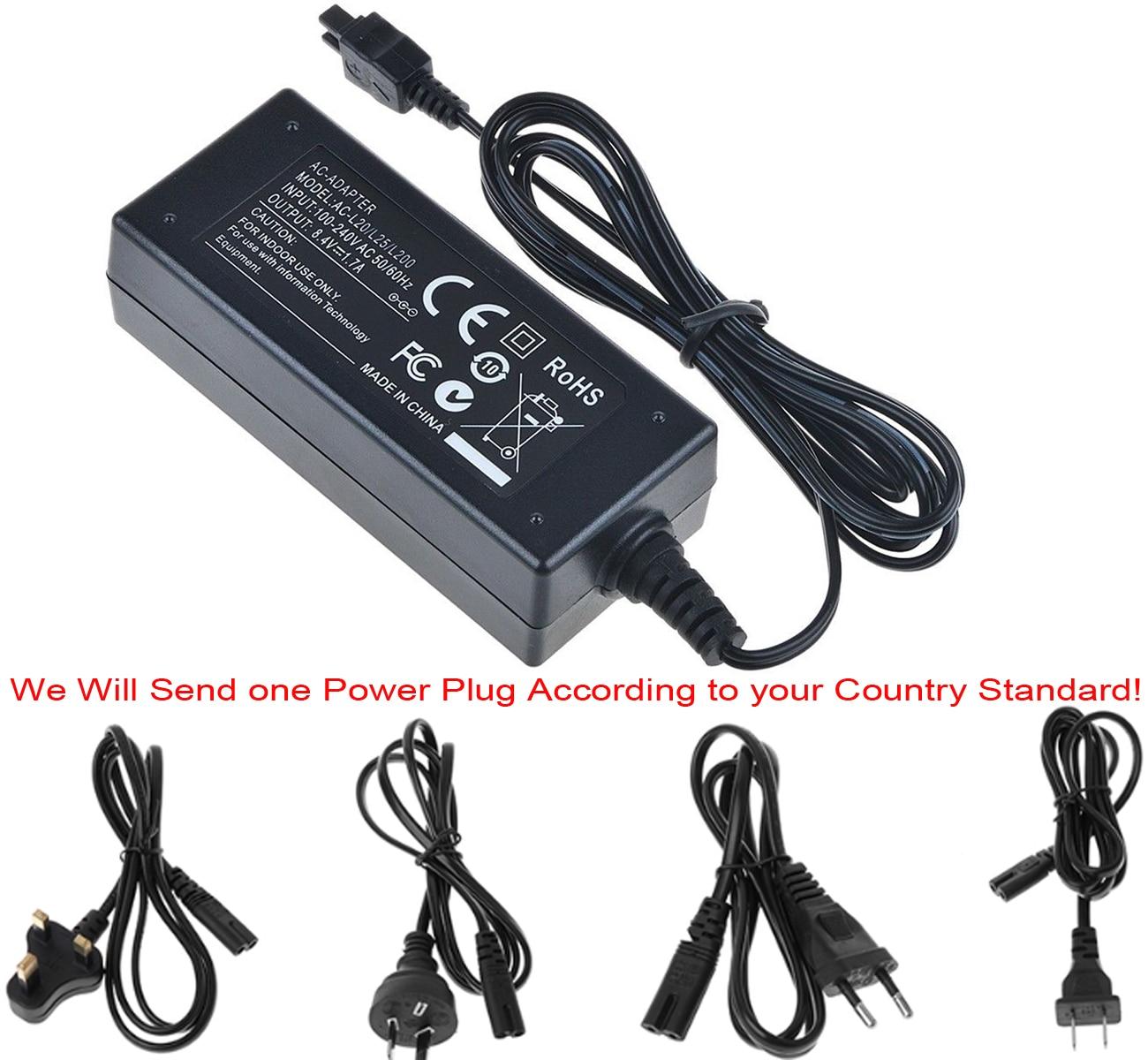 Adaptador de alimentação ca carregador para sony DCR-SX50E, DCR-SX53E, DCR-SX60E, DCR-SX63E, DCR-SX73E, DCR-SX83E, DCR-SX85E, handycam filmadora