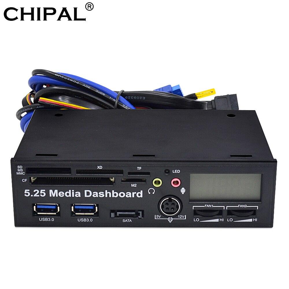 "Chipal 5.25 ""multifuncionais usb 3.0 painel frontal mmc ms xd cf tf sd leitor de cartão 3.5mm fone de ouvido interface mic"