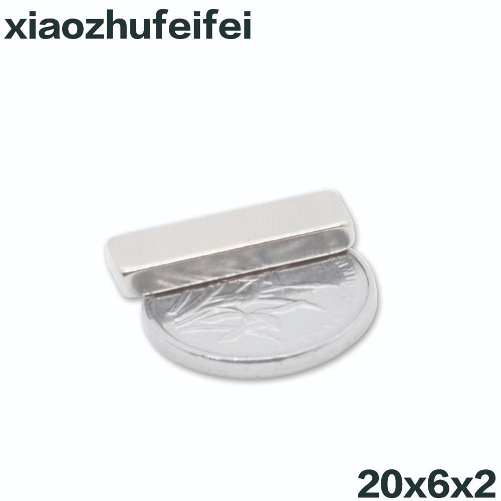 10 шт. 20x6x2 мощный сильный редкоземельный Блок Неодимовый магнит 20 мм x 6 мм x 2 мм неодимовые магниты N35 20*6*2