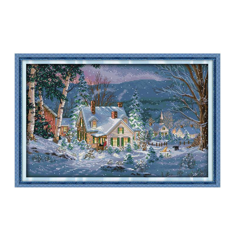Christmas snowy night, Conto Impresion en lienzo 11CT 14CT DMC punto de Cruz kit, Outskirts of cottage winter snow decoration