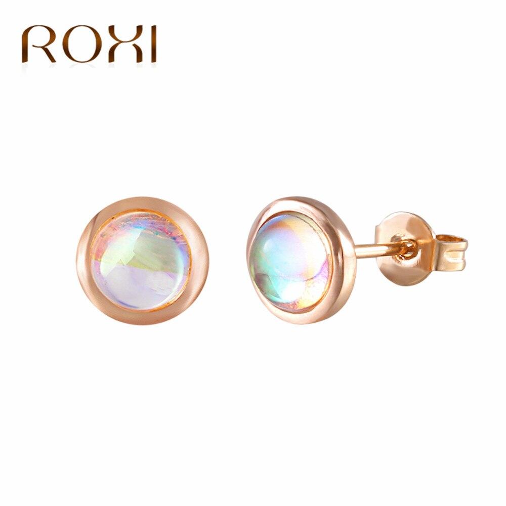 Женские серьги-пусеты BOAKO, серьги из лунного камня, простой розовый золотой цвет