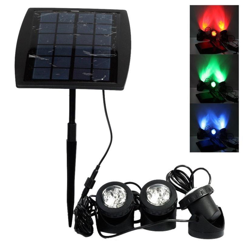 LED الشمسية تجمع مصابيح ضوء الاستشعار نافورة شمسية أضواء ABS مقاوم للماء Focos psquina LED الحديقة السباحة بركة تحت الماء الإضاءة